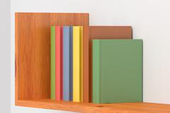 Colored books on wooden bookshelf on white wall - stock illustration