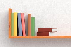 Colored books on wooden bookshelf - stock illustration