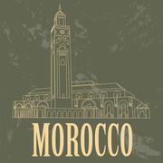 Kingdom of Morocco landmarks. Hassan III Mosque in Casablanca - stock illustration