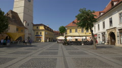 Great summer afternoon in the Large Square of Sibiu Stock Footage
