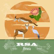 RSA  landmarks. Retro styled image Stock Illustration