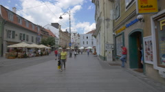 Nicolae Balcescu Street in the afternoon, Sibiu Stock Footage