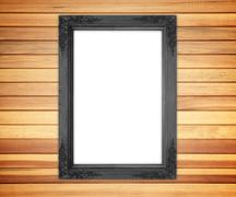 Old wooden brown wall Wall frames. Stock Photos