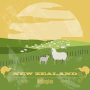 New Zealand landmarks. Retro styled image Stock Illustration