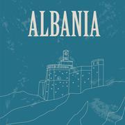 Albania landmarks. Retro styled image Stock Illustration