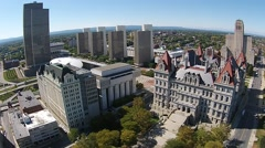 Aerial Albany NY Capital Building and Plaza Stock Footage
