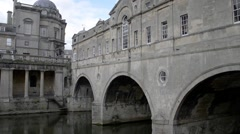 Pultney Bridge at Bath City Center, Somerset, England Stock Footage