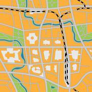 Imaginary city map - seamless vector image Stock Illustration