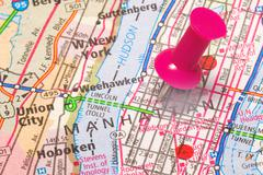 A Push Pin in New York - stock photo