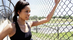 Young active African American woman training to keep fit - stock footage