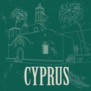Cyprus landmarks. Retro styled image Stock Illustration