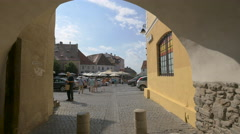 Tourists visiting the Small Square of Sibiu Stock Footage