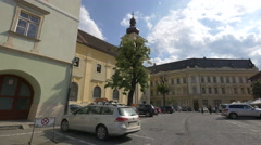 The Small Square with the Roman Catholic Church in Sibiu Stock Footage