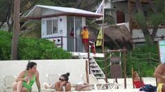 Beach lifeguard stand Stock Footage