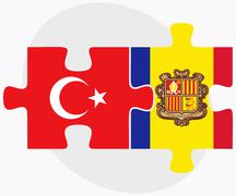 Turkey and Andorra Flags in puzzle - stock illustration