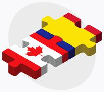 Canada and Andorra Flags - stock illustration