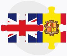 United Kingdom and Andorra Flags Stock Illustration