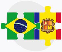 Brazil and Andorra Flags - stock illustration