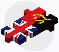 United Kingdom and Angola Flags - stock illustration