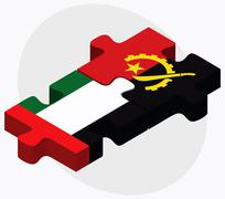 United Arab Emirates and Angola Flags - stock illustration