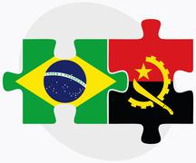 Stock Illustration of Brazil and Angola Flags