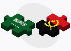 Stock Illustration of Saudi Arabia and Angola Flags