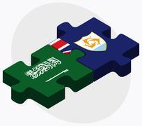 Saudi Arabia and Anguilla Flags - stock illustration