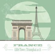 France landmarks. Retro styled image Stock Illustration