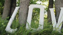 Inscription love in the park near the tree, tall grass white capital letters Stock Footage