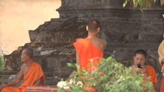 Buddhist monks in Wat Si Saket , Vientiane, Laos Stock Footage