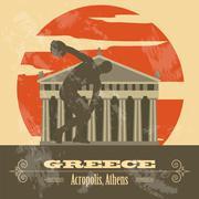Greece landmarks. Retro styled image Stock Illustration