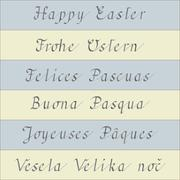 Stock Illustration of Happy Easter - handwriting in six different languages
