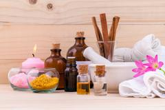 Natural Spa Ingredients Aromatherapy and Natural Spa theme  on wooden backgro Stock Photos