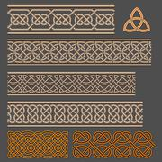 Celtic knot borders - stock illustration