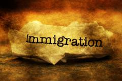 Immigration text on grunge paper - stock photo