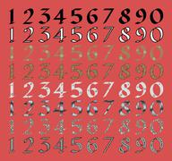 Calligraphic numeral set with different fills - stock illustration