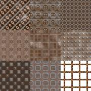 Set of rusted iron plate seamless generated textures - stock illustration