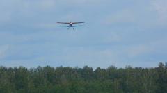 Antonov-2 biplane landing Stock Footage