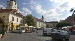 The Small Square of Sibiu with old buildings and towers Stock Footage