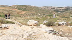 Hiking The Biblical Tel Shiloh Stock Footage