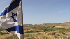 Israeli Flag The Biblical Tel Shiloh Stock Footage
