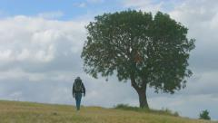 Man with rucksack walking across field, tourist hiking, green tourism, vacation - stock footage