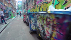 4k video of walking along the Hosier Lane in Melbourne, Australia. - stock footage