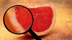Nutrition facts on orange Stock Footage