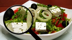 Nutrition facts on fresh salad Stock Footage