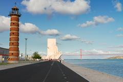Embankment of river Tagus, Lisbon, Portugal Stock Photos