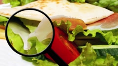 Nutrition facts on vegetable sandwich Stock Footage
