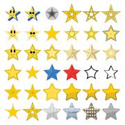 Collection of different stars - stock illustration