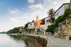 View of the town of Rab, Croatian tourist resort. - stock photo