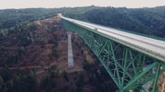A beautiful arial view of a bridge Stock Footage